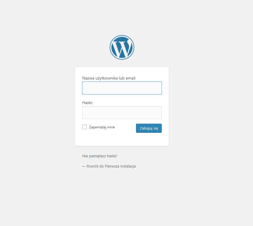 pierwszy ekran logowania do wordpress